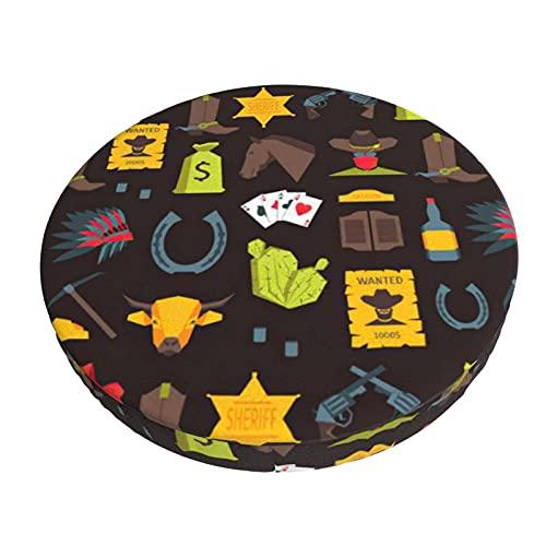Funda para Taburete Redondo 35cm, Vaquero Occidental de Dibujos Animados, Diseño de 3 Capas Funda de Cojín de Asiento, Práctico Lavable Protector de Silla Redondo Suave