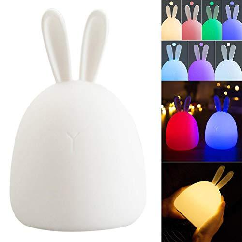 Einsgut siliconen LED-bedlampje met touch-USB-oplaadoptie nachtlampje baby voor kinderkamer kinderverjaardag slaapkamer woonkamer geschenk decoratie (konijn)
