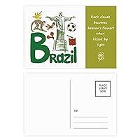 ブラジルの国家の象徴のランドマークのパターン 詩のポストカードセットサンクスカード郵送側20個