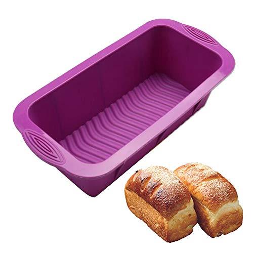 Doitsa 1pcs Moule à Gàteau Rectangle en Silicone Anti-adhésif Moule de Cuisson, BPA-Gratuit, Idéal pour la Cuisson à la Maison, 25 * 12 * 7.5CM, Violet (Violet)