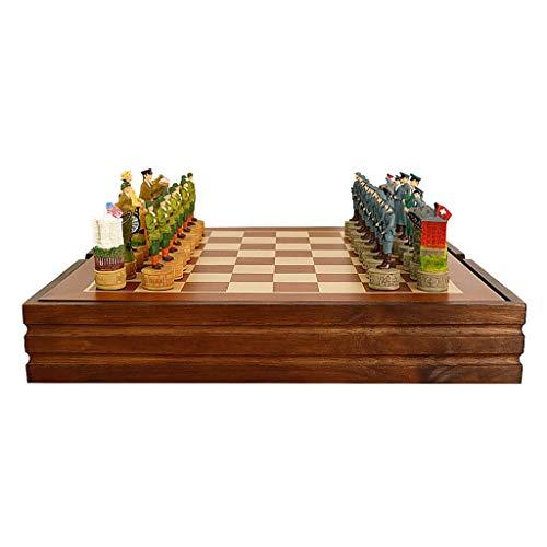 Ajedrez Juego de ajedrez de guerra de madera con juego de ajedrez de alojamiento interno Piezas de ajedrez de resina Juego de madera juego de ajedrez juego de ajedrez de lujo Juego de Ajedrez Regalo d