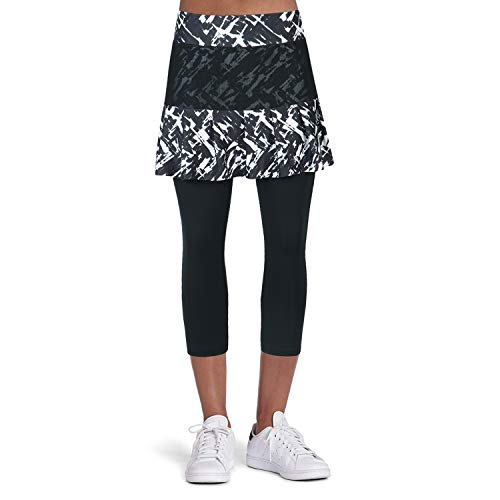 ANIVIVO Tennis Skirted Leggings Women with Pockets Capris Leggings with Skirts& Women Tennis Tight Pants Sports Skirted Pants Tennis Clothing(Chaotic Skirts,L)