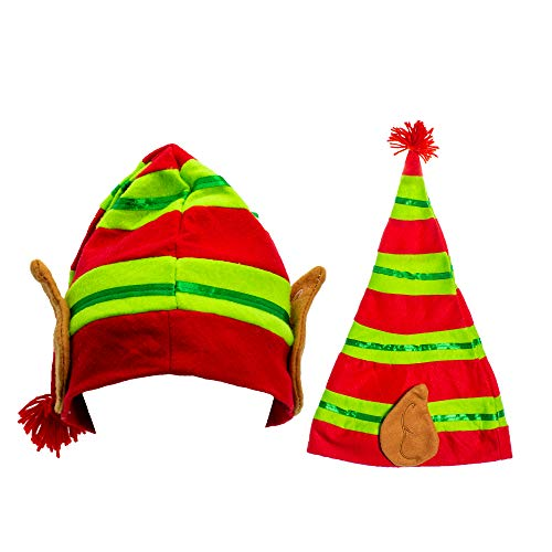 Festive Christmas Stripped Elf Hat with Ears for Kids and Adults