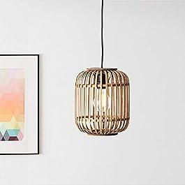 Lightbox Suspension en rotin véritable E 27 pour max. 40W Lampe suspendue moderne en métal / rotin – Marron clair/noir