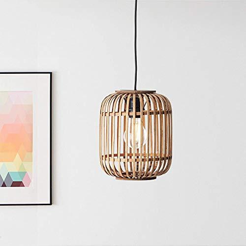 lampadario a sospensione da esterno Lampadario decorativo Nature 1 x E27 max. 40 Watt in metallo/rattan in marrone chiaro/nero