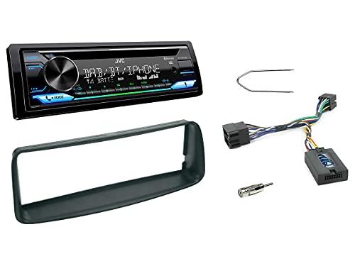 NIQ Autoradio Einbauset geeignet für Peugeot 206 inkl. JVC KD-DB912BT DAB+ & Lenkrad Fernbedienung Adapter in Schwarz