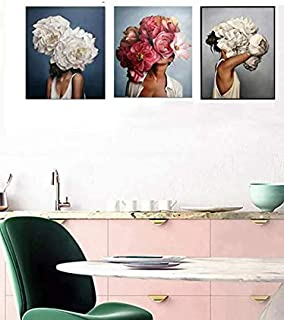 Flower & Figure Graphic Picture Photo Wall Art Painting without Frame, Multicolor, L 30 x W 20cm, 3 Pieces