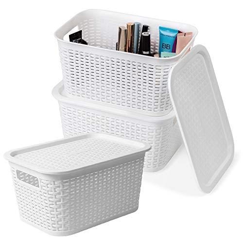 Tatkraft Petit Set of 3 Stilvolle Stapelbare Aufbewahrungskorb mit Deckel, Weiß, Rattan-Optik 6L