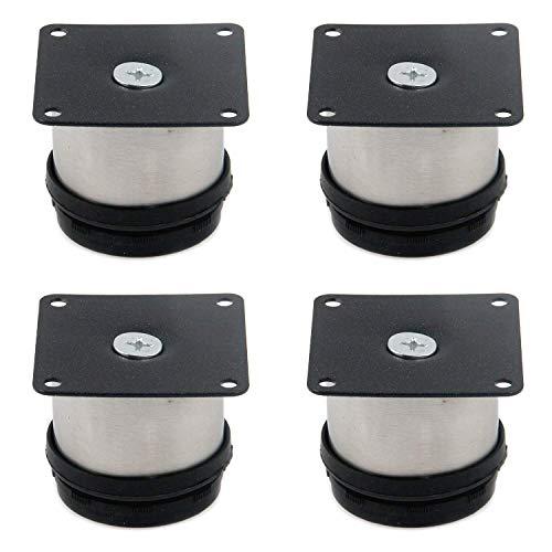 4 patas ajustables para muebles de acero inoxidable, patas de armario de cocina, con tornillos de montaje, redondas, negras y plateadas, altura 5 cm / 2 pulgadas