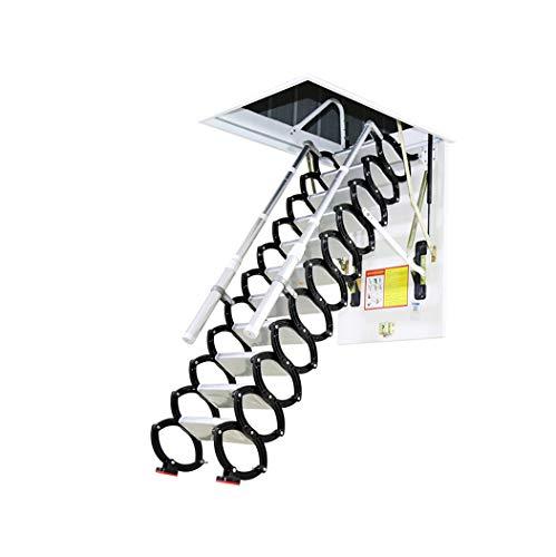 Metal Retractable Ladder for Loft Home Folding Step Ladder Attic pulldown Ladder Hinge 5ft-11ft (Alloy 11.15ft,Hole 3.28ft2.29ft)