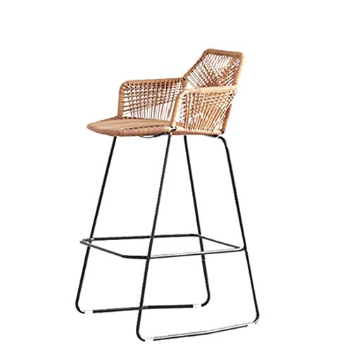YH-KE Chair Bar Stools Retro Loft Chinese Style Wicker Chair Metal Chair For Restaurant Living Room Decoration Iron Art Backrest Chair Creative Industrial Style Bar Chair Hand Made Hand-woven Bamboo C