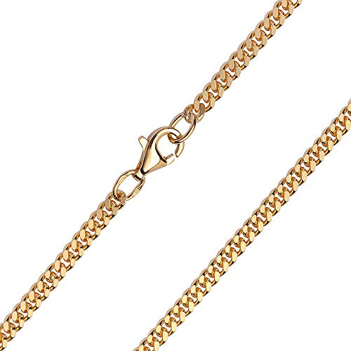 MATERIA 3mm Panzerkette Silber 925 vergoldet diamantiert Goldkette Herren Damen mit Box K70-42 cm