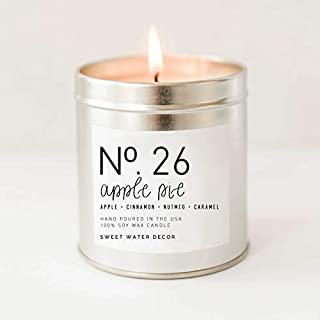 Apple Pie Natural Soy Wax Candle Silver Tin Scented Apple Pumpkin Clove Cinnamon Nutmeg Ginger Fall Autumn Season Made in USA Lead Free Cotton Wick Decor Rustic Country Modern Farmhouse Decor
