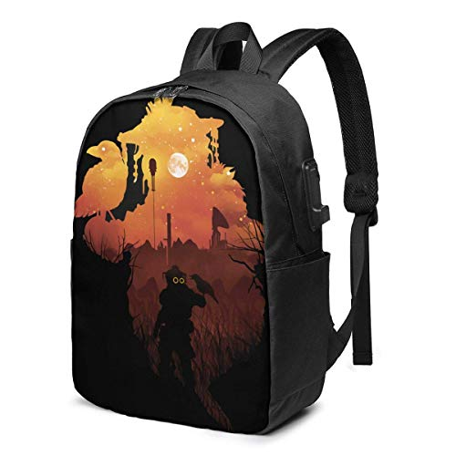 YTHH Apex Bloodhound Sunset Backpack Computer Backpack Travel Bag for Business Trip Large Capacity 17 Inch with USB Interface