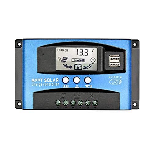 MPPT 30A-100A 12V/24V Auto Focus Tracking Solar Panel Regulador Dual USB Port Charge Controller (100A) (Y-60A)
