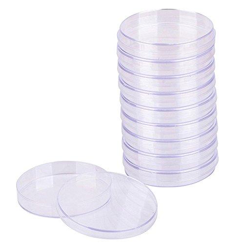Placa de Petri de Plástico,10 piezas de Placa de Petri Esterilizada Transparente,Recipiente de Cultivo Bacteriano con Tapa para Cultivo de Laboratorio Levadura Bacteriana