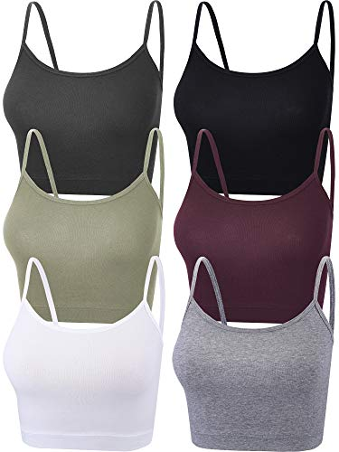 6 Pieces Women Crop Cami Top Spaghetti Strap Tank Top Racerback Sleeveless Camisole Tops for Sports Yoga (Dark Colors, Small)