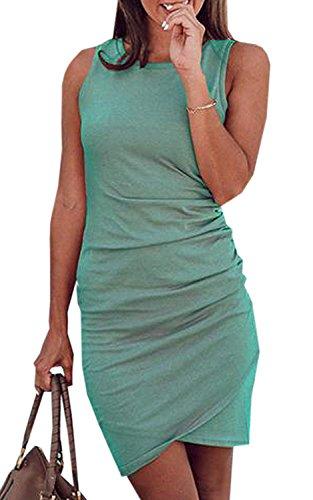 Minetom Damen Enges Kleid Sommerkleid Rundhals Ärmellos Kleid Bodycon Unregelmäßig Minikleid Abendkleid Ballkleid Sexy Einfarbig Cocktailkleid B Grün DE 34