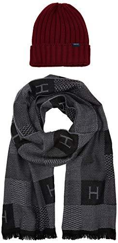 Hackett H Chk Scarf&beanie Set conjunto bufanda, gorro y guantes, (Red/Grey 2aj), Talla única (Pack de 2) para Hombre