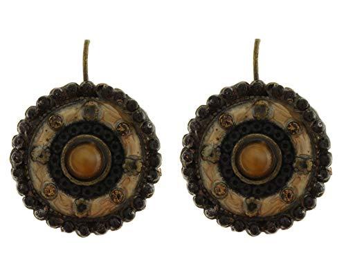 behave Mujer Pendientes de botón Retro con pedrería Hecho de Metal - marrón - 2cm tamaño