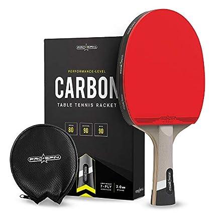Pro Spin Pala de Ping Pong con Fibra de Carbono – Madera 7-ply, Goma Ofensiva, Esponja 2 mm, Funda de Raqueta de Tenis Mesa Premium – Mejora tu Juego con Las Palas de Ping Pong de Carbono Serie Elite