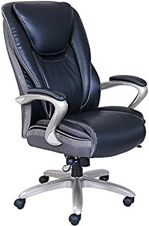 Serta Smart Layers Hensley Bonded Leather Big & Tall High-Back Chair, Black/Silver