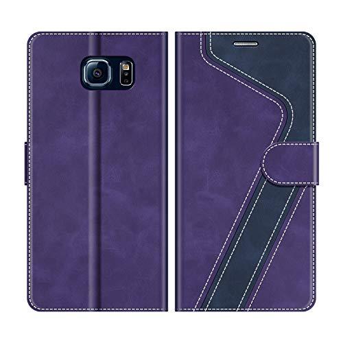 MOBESV Custodia Samsung Galaxy S6, Cover a Libro Samsung Galaxy S6, Custodia in Pelle Samsung Galaxy S6 Magnetica Cover per Samsung Galaxy S6, Viola/Blu Scuro