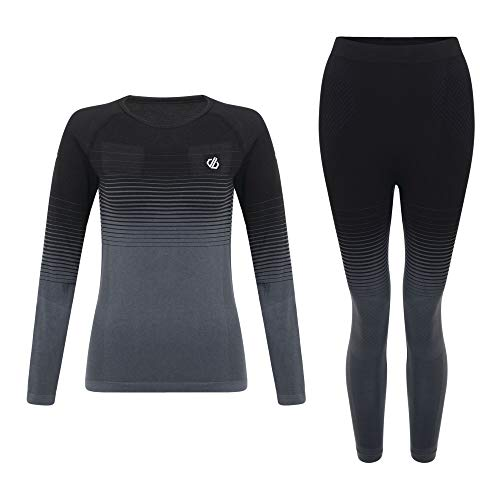 Dare 2B In The Zone Perfomance Fast Wicking Quick Drying Base Layer Long Sleeve Top with Seamless Technology And Ergonomic Body Map Fit, Intimo Donna, Nero, M