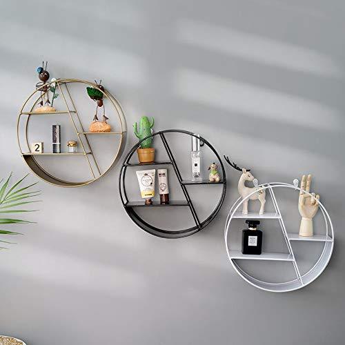 Bledyi - Estantería de pared redonda dorada para decorar la sala de estar, el dormitorio, la cocina