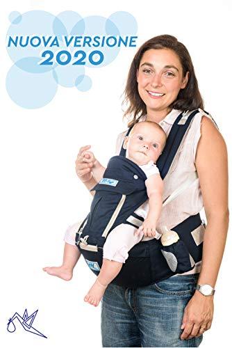 BBSafe Marsupio Neonati Ergonomico Porta bambini con Fascia Lombare - Marsupio Bambino per Posizione ad M/ Multiposizione/ Puro Cotone Traspirante 4 S