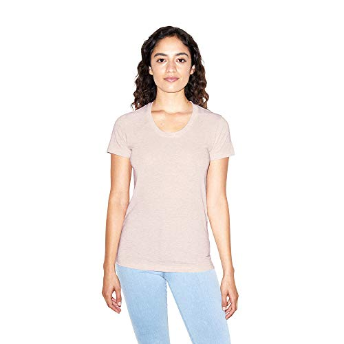 American Apparel Women's Tri-Blend Slim Fit Crewneck Short Sleeve Track T-Shirt, tri-Oatmeal, Small