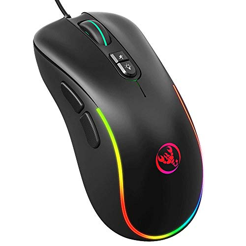 AZPINGPAN Wired Gaming Mouse,6400 DPI Rechargeable USB Mouse with 7 Buttons 6 Changeable Color Ergonomic Programmable for PC Computer Laptop Gaming,Support All Kinds of Game Mouse