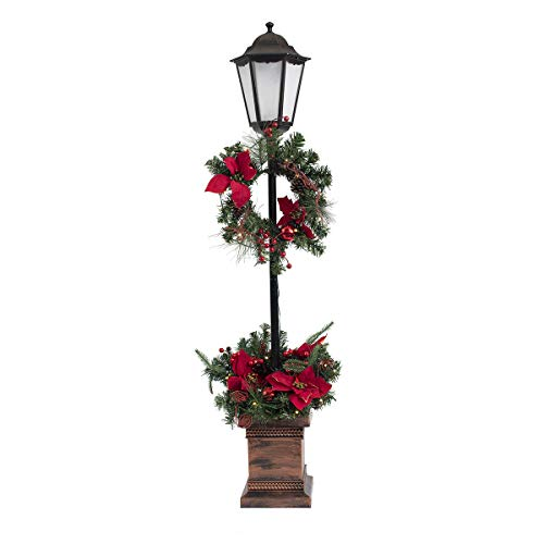 Quality Craft XL00918 Lamp Post with Planter Base Holiday Decoration, Black