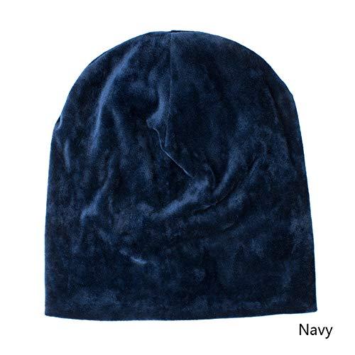 FSMMDM Cappello Cappelli Invernali per Donna Berretti Cappellino Autunnale Cappello Caldo Spesso Cappelli per Ragazze Lady Doppi Strati Skullies Bone Solido, Navy
