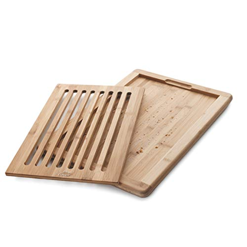 Lacor Tabla de Cortar Pan de Bambú, con Bandeja recogemigas, Robusta y Resistente, 8 Canales horizontales, Madera, 40x30x2cm