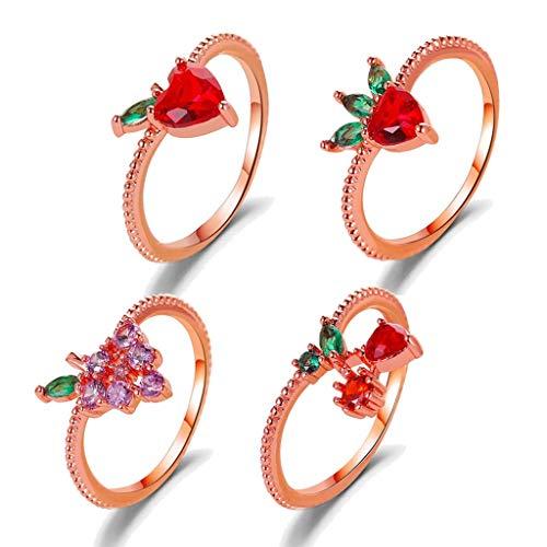 VIccoo Anillos de Moda, 4 Piezas Sweet Fruits Cubic Zircon Pave Rings Kit de Anillos de Manzana, Fresa, UVA y Cereza - Rosa Oro