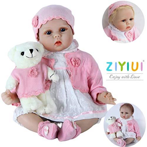 ZIYIUI 22 Zoll Lebensechtes Reborn Babypuppen Silikon Mädchen Handgefertigt Dolls Neugeborenes Kinder Spielzeug Realistische Kind Geburtstagsgeschenk