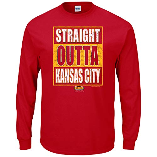 Smack Apparel Kansas City Football Fans. Straight Outta Kansas City Red T-Shirt (Sm-5X) (Long Sleeve, 2XL)