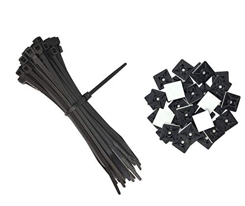 intervisio Set Kabelbinder 200mm x 2,5mm, schwarz, 100 Stück und Klebesockel für Kabelbinder, 19mm x 19 mm, schwarz, 50 Stück