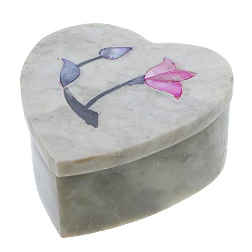 Li'Shay Marble Soapstone Box Trinket Chest with Flowers Small Heart