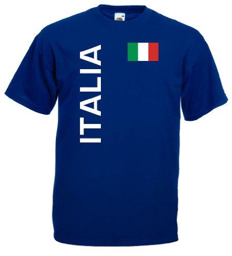 World-of-Shirt Italia/Italien Herren T-Shirt Trikot Navy L