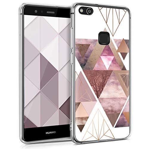 Huawei P10 Lite Hülle - Handyhülle für Huawei P10 Lite - Handy Case in Glory Dreieck Muster Design Rosa Rosegold Weiß