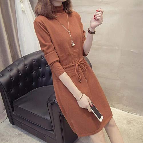 BXM trui jurk vrouwen gebreide warme trui coltrui lange mouwen dikke trui casual los truien jurk