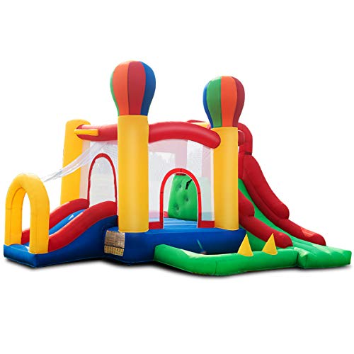 Costzon Inflatable Bounce House, Mighty Balloon Double Slide Bouncer Kids Jumper (Without Blower)