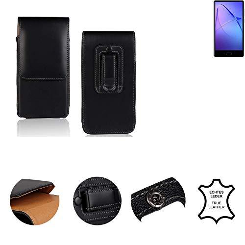K-S-Trade® Holster Gürtel Tasche Für Bluboo S1 Handy Hülle Leder Schwarz, 1x