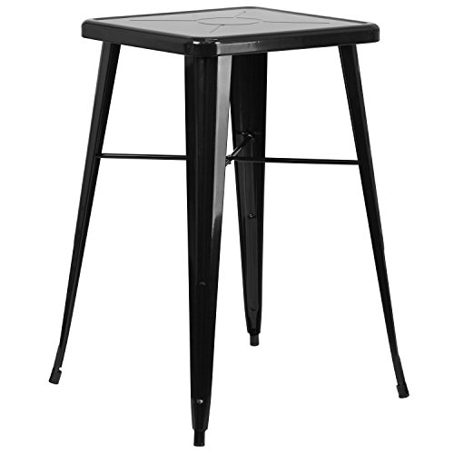 "Flash Furniture Commercial Grade 23.75"" Square Black Metal Indoor-Outdoor Bar Height Table"