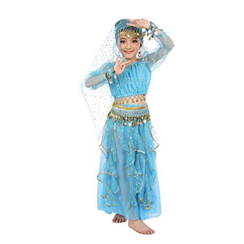 Lvguang Mädchen Bauchtanz Set Tanz Langarm Top & Mädchen Tanz Rock & Taille Kette & Kopf Schnalle & Ohrringe & Armband & Schleier (Blauer See, Asia S)
