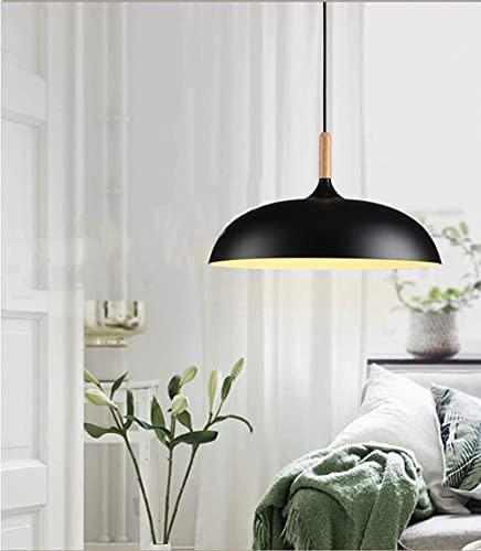 CAIMEI Araña Lámpara Colgante de Aluminio Negro Ø35Cm Lámpara Colgante Redonda Lámpara Colgante de Madera Lámpara Colgante Ajustable en Altura 1 Llama Lámparas Colgantes de Techo