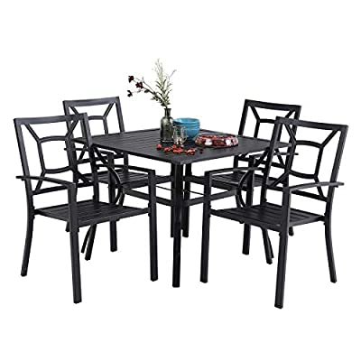 "PHI VILLA 5 Piece Metal Patio Dining Set Armrest Dining Stackable Chairs and Larger Square Table Set, 37"" Square Bistro Table and 4 Backyard Garden Chairs - Umbrella Hole 1.57"", Black"