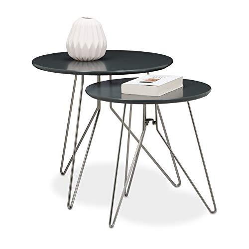 Relaxdays Table console table d'appoint canapé table basse gigogne lot de 2 design design moderne avec plateau rond en bois gris mat laqué diamètre 60 et 40 cm pieds en métal, gris mat